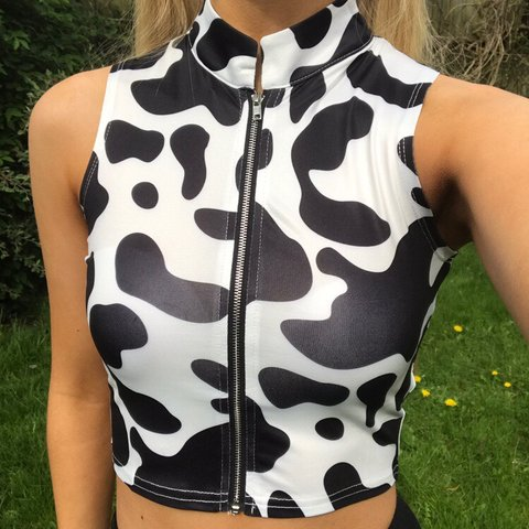 82329e0df602ef Cow print zip up crop top size S Posted same next working . - Depop