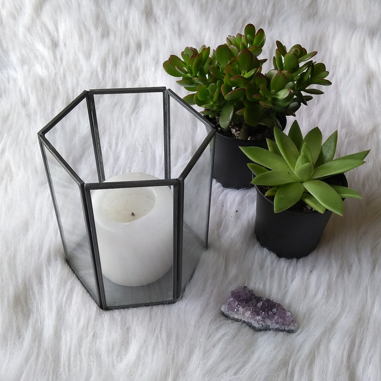 Hexagon Glass Candle