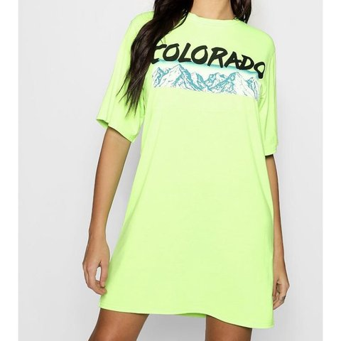 3199857925b8 Neon lime green oversized colorado tshirt dress. Brand new a - Depop