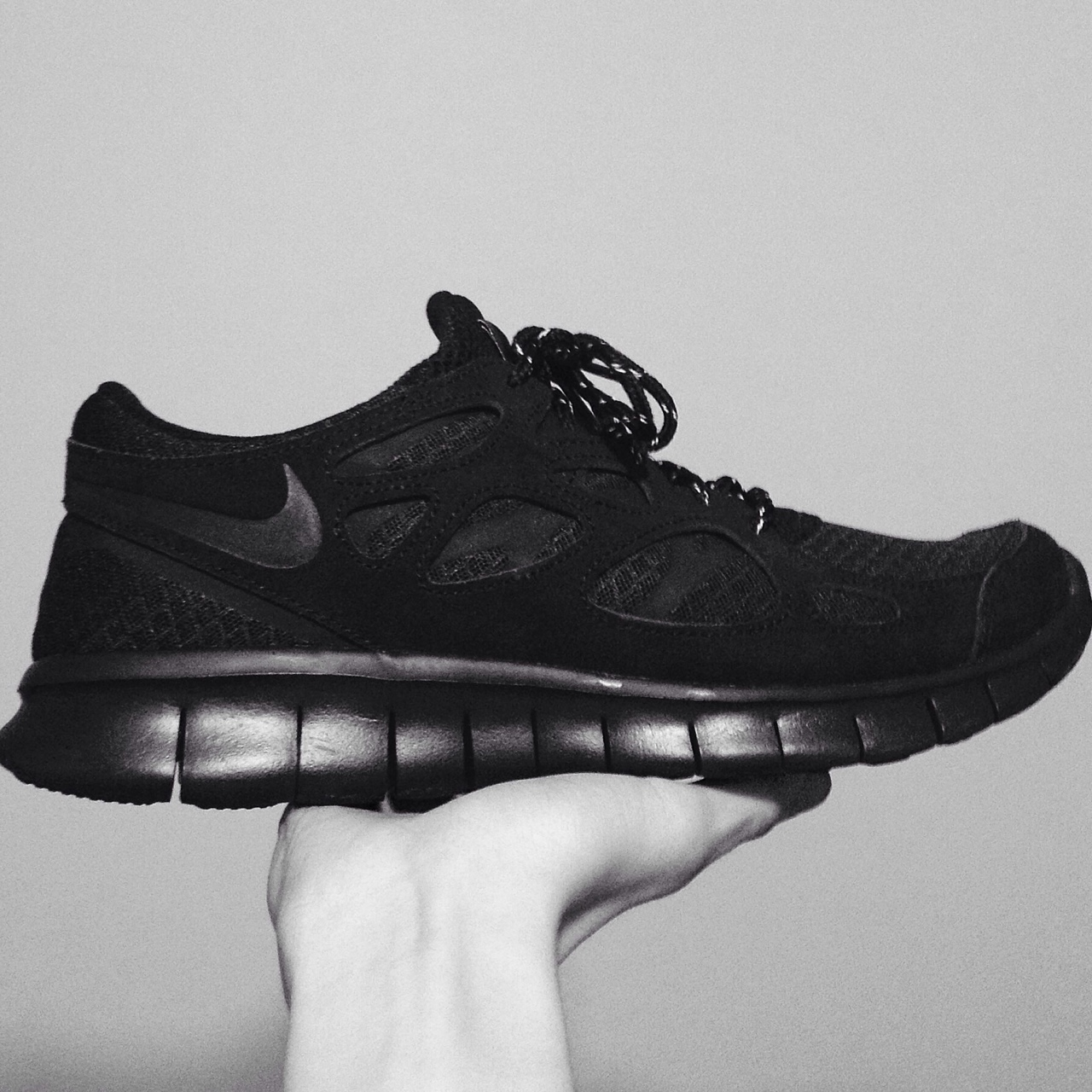 size 40 42241 e7a13 NIKE Free Run 2 ✖️ All black ✖️ Reflective laces ✖️... - Depop