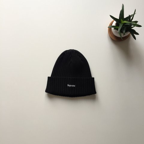 0212ee449b4 Supreme overdyed ribbed black beanie from SS17. Worn twice. - Depop