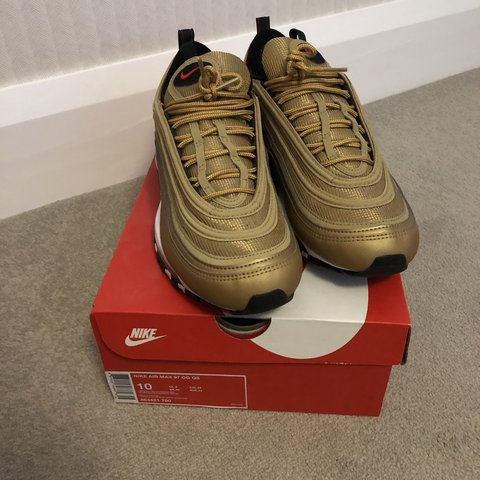cdcee86e7dadf @danleather_. last year. Liverpool, United Kingdom. Nike Air Max 97 - Gold  Metallic/Gold Bullet ...