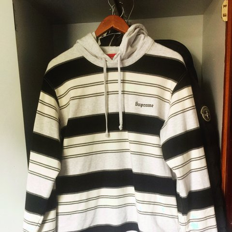c877c9467864 Supreme striped hooded crewneck Black and white Great only a - Depop