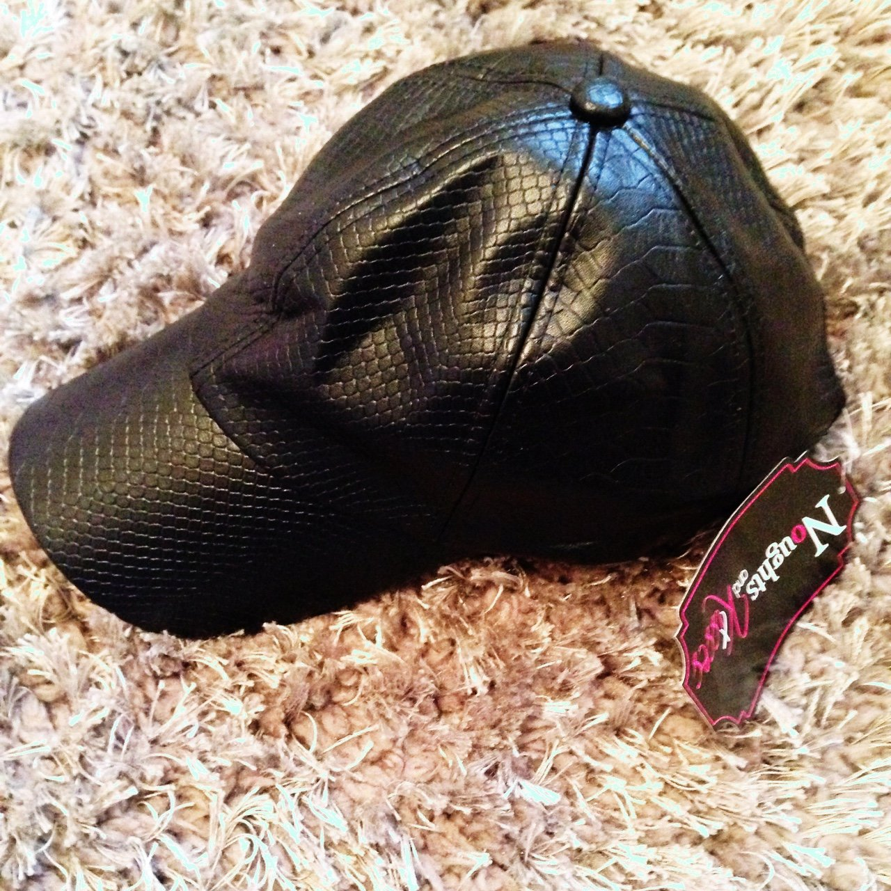 72598091322 Black faux snakeskin cap bought from noughts and kisses worn - Depop