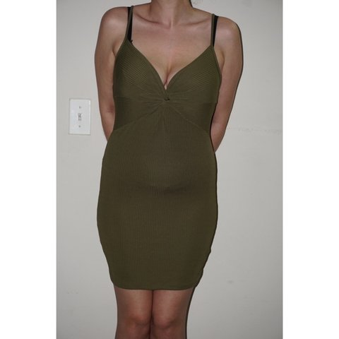 52be82d4f2f1 Adorable Olive green bodycon dress. Twist detail on bust. - Depop