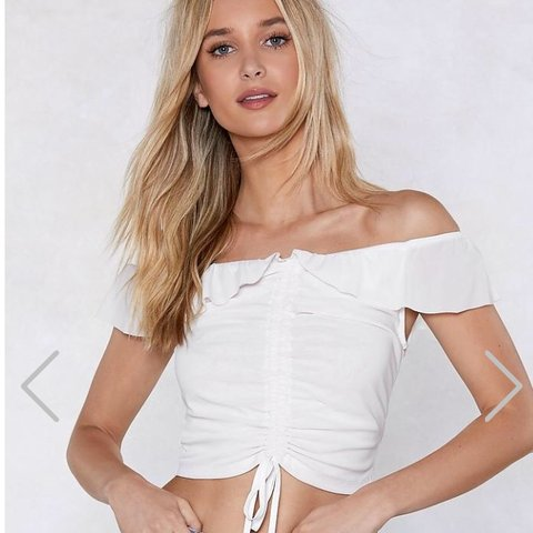 394040eeaa225c Nasty Gal cream ruched off the shoulder   bardot crop top on - Depop