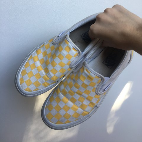 Yellow and white checkered slip-on Vans⭐ 🌟Hand painted by I - Depop 20b5875be