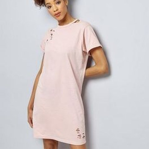 c241dadf75 @carabethwise. last year. Burnley, United Kingdom. Ripped pink t shirt dress  from New Look. Never worn. Size 6 ...