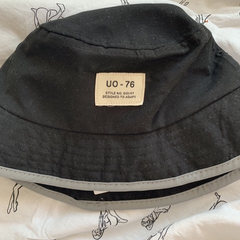 e001894634047 Urban outfitters black bucket hat with reflective strip on - Depop