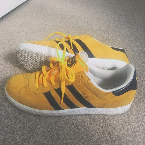 e36260d5a0 Adidas gazelles size 5. Navy and mustard suede with slight a - Depop