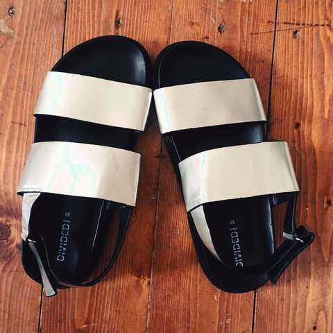 b7e3a32669a9 Silver H M flat sandals. Never worn Selling because I have - Depop