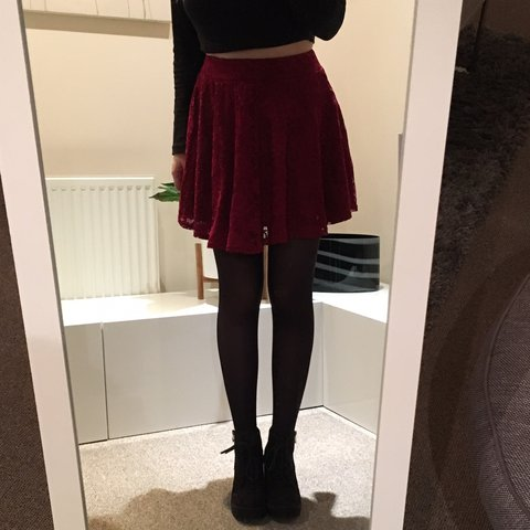 b6ea541cf92 Red lace skater skirt. Elastic waistband. Only worn once so - Depop