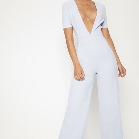 4d170b9858b8 Pretty little thing powder blue plunge jumpsuit Size 10 me - Depop