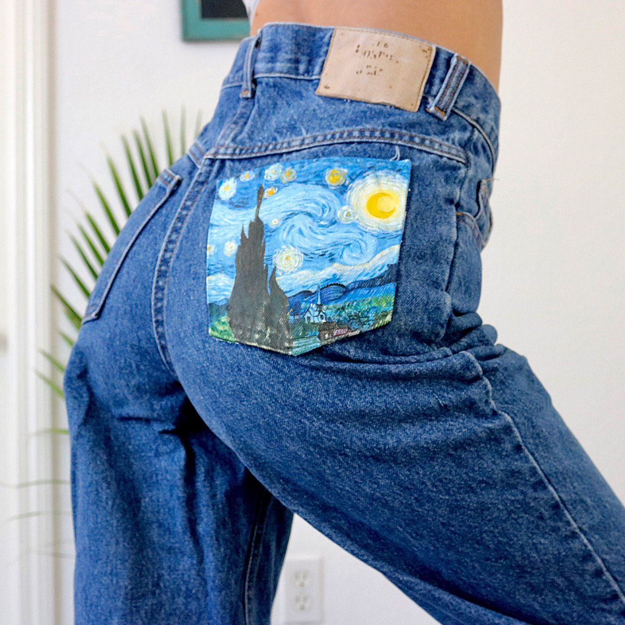 Hand painted vintage jeans by me! Acrylic painted Vincent ...