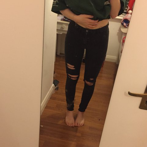 e287ab83 Size 8 black pull and bear ripped skinny jeans, quite high a - Depop