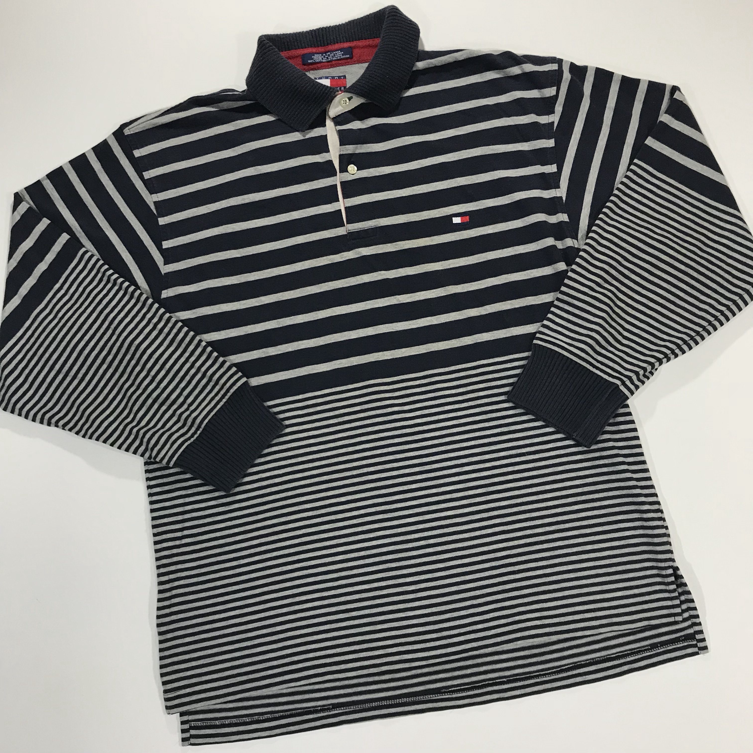 6f6a0eb21 Vintage 90's Tommy Hilfiger long sleeve polo. Grey rugby and - Depop