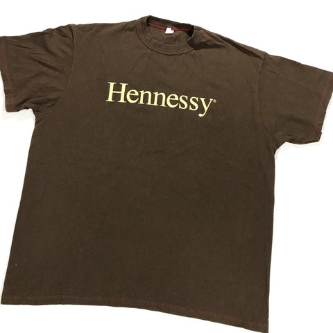 3134d3131 Vintage 90's Hennessy promo shirt. Made in USA. Brown color - Depop