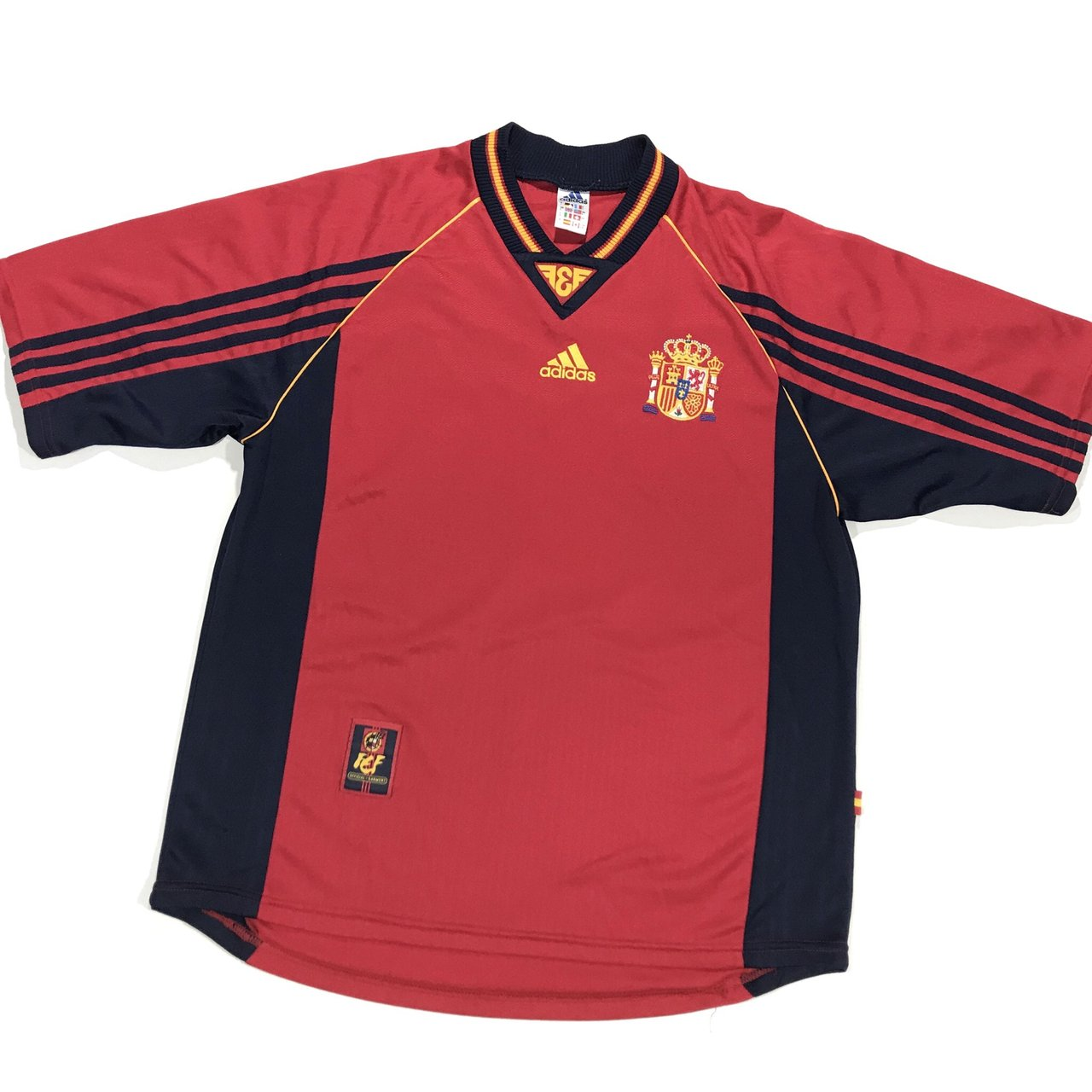 Vintage 90 s Adidas Spain soccer jersey. Lightweight with on - Depop 4377c2c31