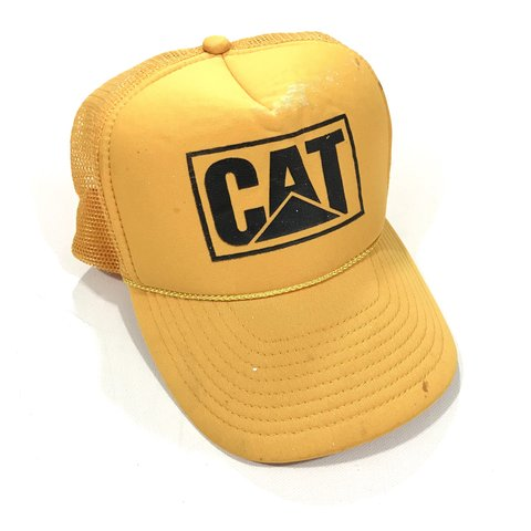 e7c635ac27ed7 Vintage 90 s Cat Caterpillar trucker hat. Yellow color with - Depop