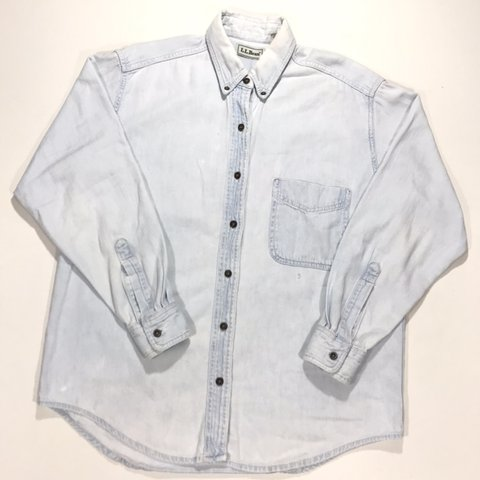93f1bf1e0c6 Vintage 90 s L.L.Bean long sleeve denim button down. Made in - Depop