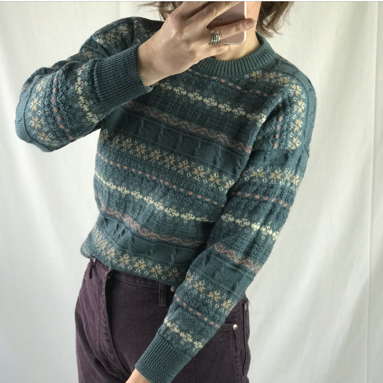848b08f3 Shoptagr | Little Vintage Patterned Jumper In A Gorgeous Blue With ...