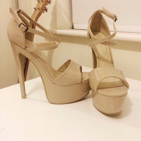 Nude patent strappy platform heels from