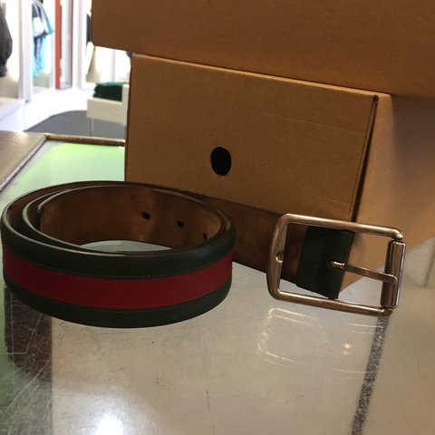 b4a29317ad32 Gucci Stripe Belt - 8/10 condition - just a bit bent to the - Depop