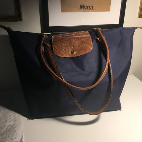 ef700cc1e51 Navy blue longchamp handbag/bag/purse. Medium size with long - Depop