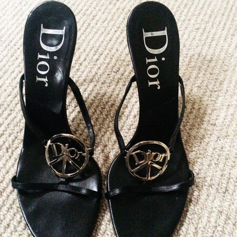 5c025fb78d1e Christian Dior sandals in black with beautiful Dior badge on - Depop