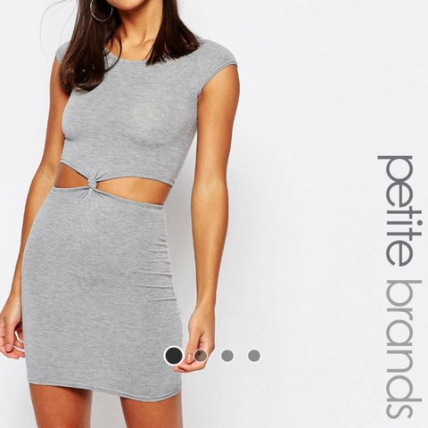0bb52f199b Boohoo Petite Grey Jersey Dress. With cut-outs and a front a - Depop
