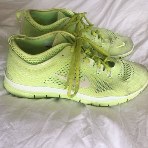 f1ad0dfd2a18 NIKE FREE 5.0 TR FIT 4  - lime green nike free trainers - - Depop