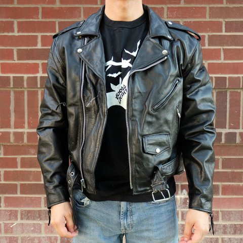 Amazing 80s Punk Motorcycle Leather Jacket Major To