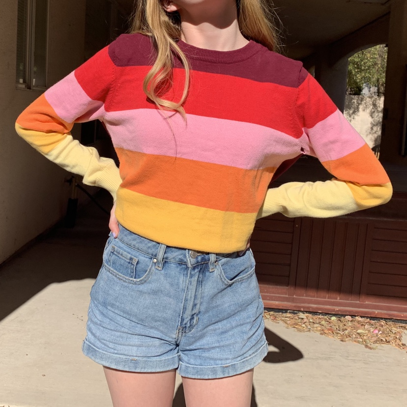 (Almost) Rainbow Stripped Sweater From Forever 21! by Depop