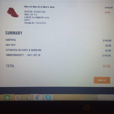 d769cdce0 100% discount Nike iD codes to use once. Use on any one Nike - Depop