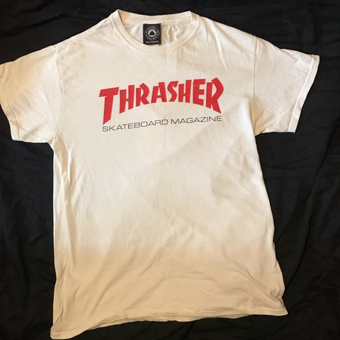 c84ed37094be Thrasher t-shirt size M Colour - off white with red thrasher - Depop