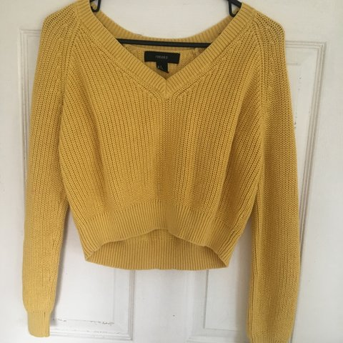 🌼 daffodil yellow v-neck cropped slouchy knit sweater 🌼 21 - Depop 076f7ecf4