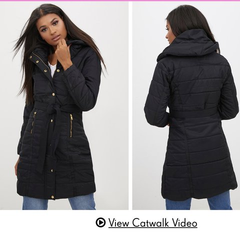 5f790e14b Black longline belted puffer coat from PLT