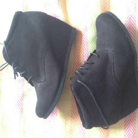 09b7251eaf87 Newlook wide fit black wedge ankle boots in faux suede. Size - Depop
