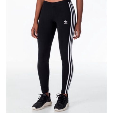 84a4939c0c067 Adidas 3 stripe black leggings, size 6🙊 tiny hole on one of - Depop