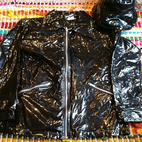 shedrain patent leather jacket with additional bucket hat - Depop 379d2ccfb6c