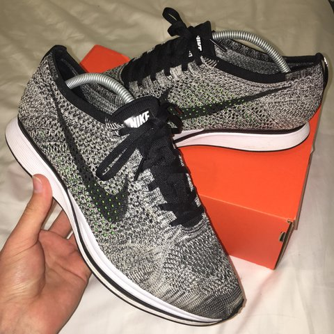 34258979faa6 Nike Flyknit Racer Oreo 1.0 . This shoe is SOLD OUT. Worn UK - Depop