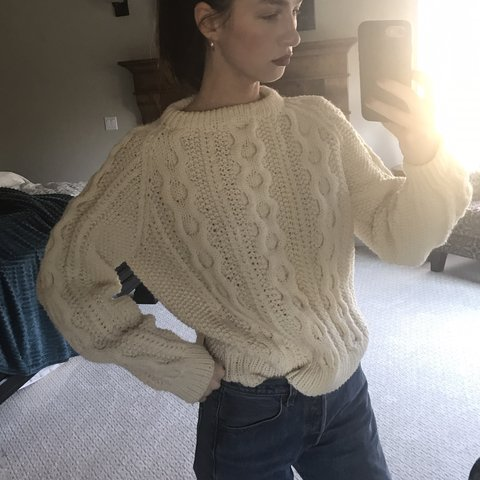 105dc5a2c1 Amazing oatmeal cream chunky fisherman knit sweater. This a - Depop
