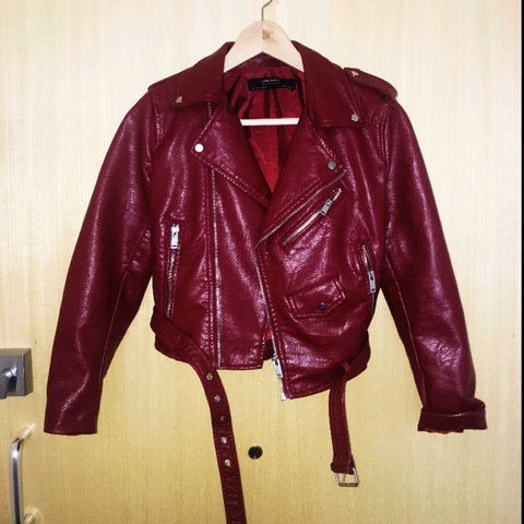 9d15bf12 zara maroon leather cropped jacket, size small, never worn - Depop