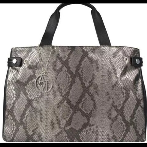 Armani jeans black leather and snake print bag new with tags - Depop c8734437c0bb6