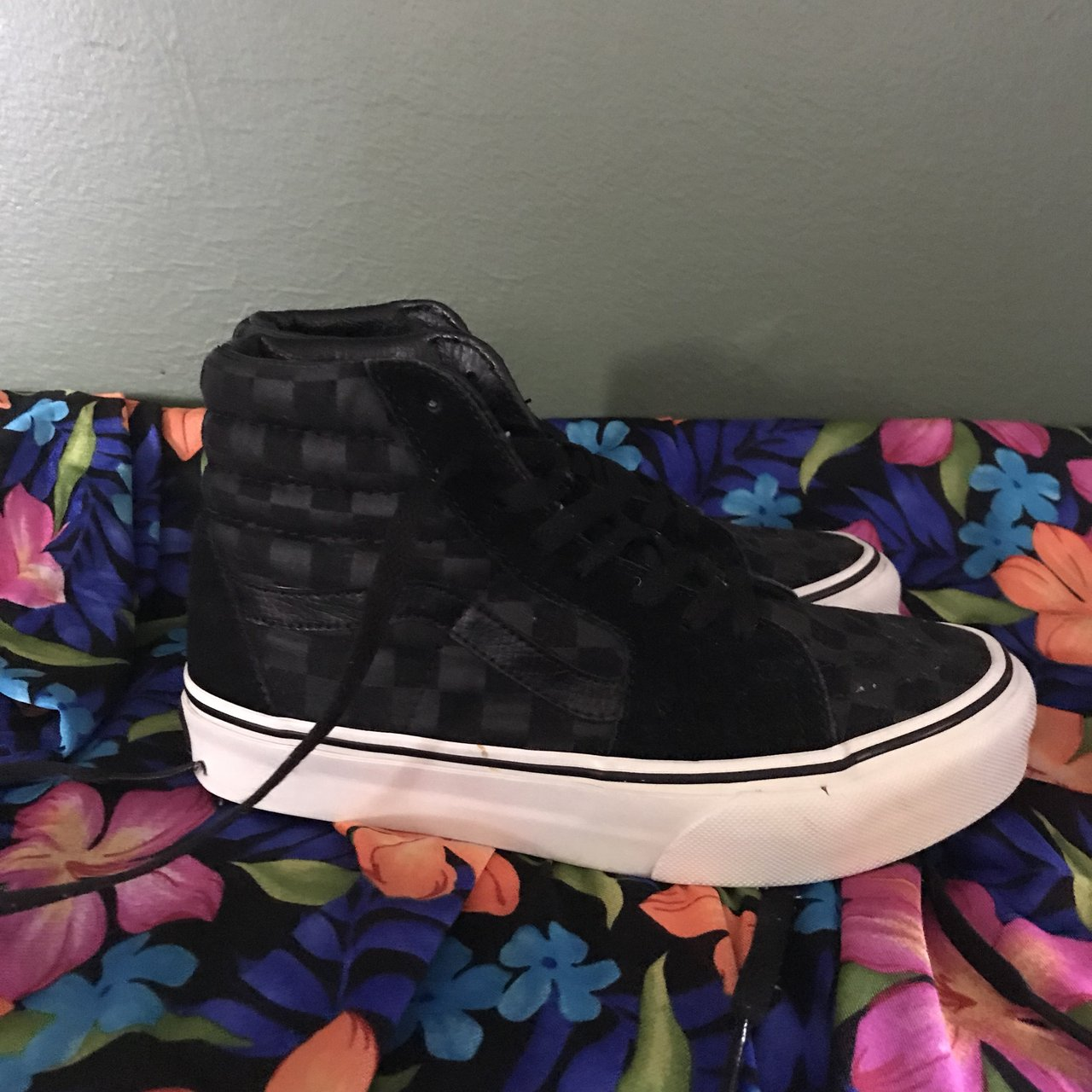 fba07fb578 VANS Black Grey Checkered Sk8-Hi Sneakers From shredding - - Depop