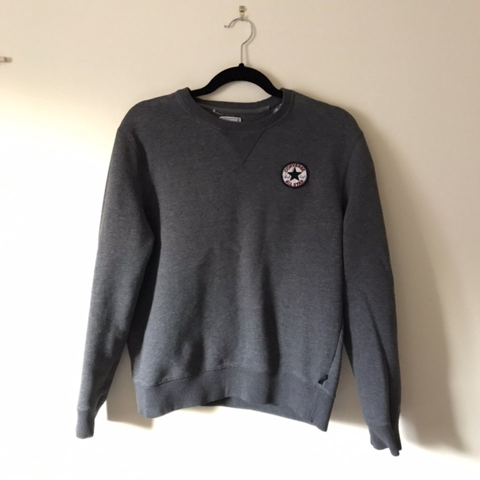 Charcoal grey Converse All star sweatshirt jumper Depop