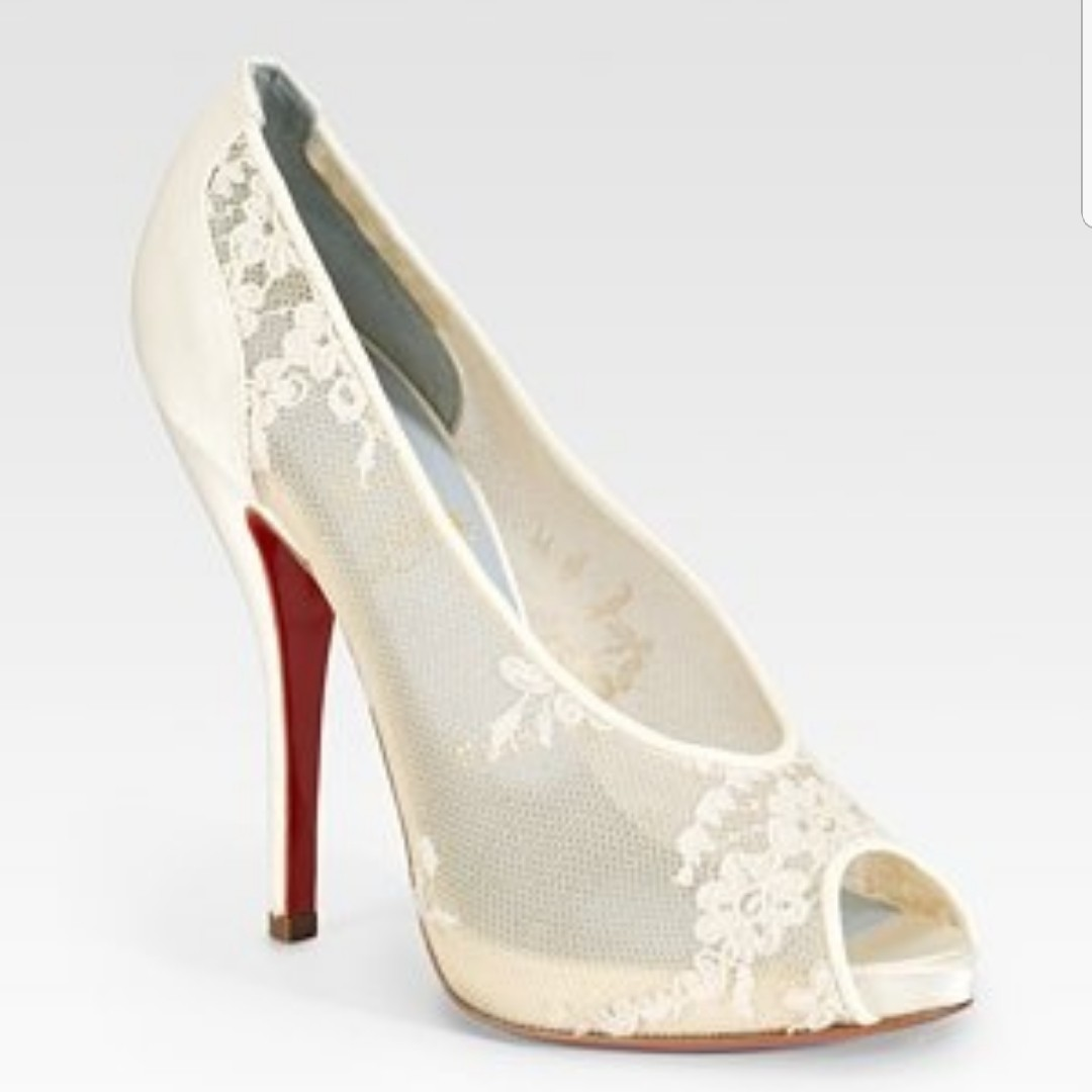 huge selection of d347c 3be4b Christian Louboutin Wedding shoes, Fetilo Lace and... - Depop