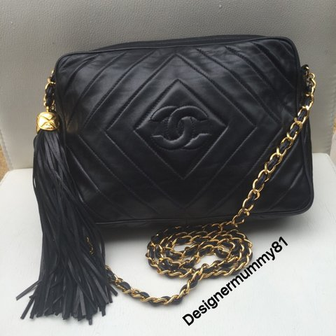 df1b6264c8df01 Chanel vintage Navy lambskin Diamond Chevron camera shoulder - Depop