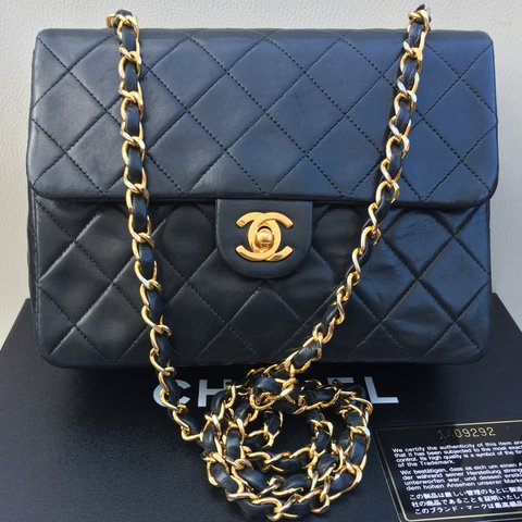 8419e27df268 CHANEL Vintage classic mini flap bag in BLACK. 100% quilted - Depop