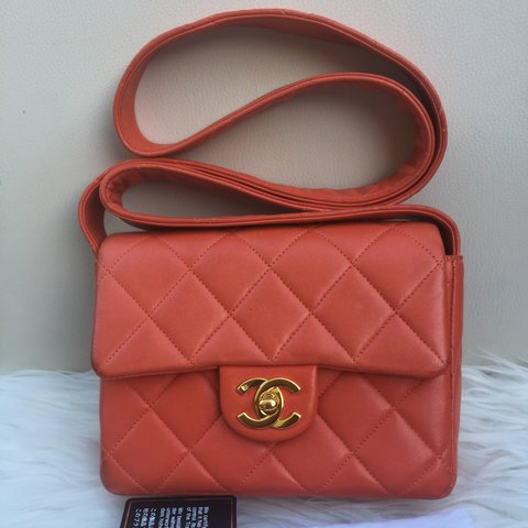 ccbefd913aeb5e @oyeinvic. 2 years ago. Orpington, United Kingdom. CHANEL vintage classic  quilted mini flap bag in Orange ...